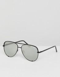 Quay Australia X Desi High Key Mini Aviator Sunglasses In Black/Silver - Black