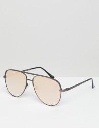 Quay Australia X Desi High Key Mini aviator sunglasses in gunmetal & rose gold - Silver