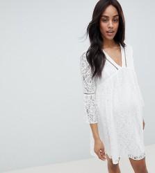 Queen Bee Allover Lace Mini Dress - White