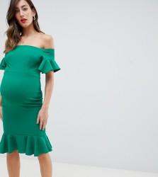 Queen Bee bardot midi dress with ruffle sleeve and hem in green - Green