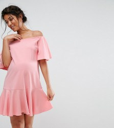 Queen Bee Bardot Ruffle Dress - Pink