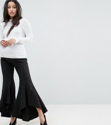Queen Bee Cigarette Trouser With Ruffle Hem - Red