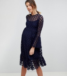 Queen Bee Dotty Tulle Mesh Skater Dress - Navy