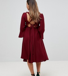 Queen Bee Fluted Sleeve Midi Skater Dress With Strappy Back - Red