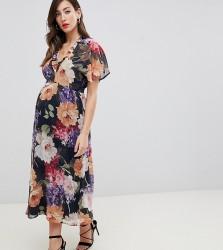 Queen Bee flutter sleeve skater dress in floral print - Multi