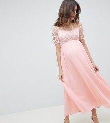 Queen Bee High Neck Cutwork Lace Top Maxi Dress - Pink