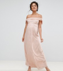 Queen Bee Lace Maxi Dress With Cowl Front And Back - Pink