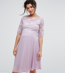 Queen Bee Lace Overlay Midi Swing Dress - Purple