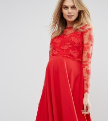 Queen Bee Lace Overlay Midi Swing Dress - Red