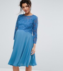 Queen Bee Lace Overlay Midi Swing Dress With 3/4 Sleeve - Blue