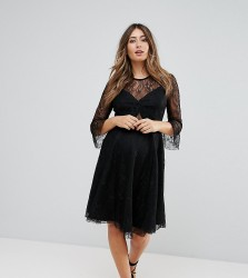 Queen Bee Lace Top Prom Skater Dress With Bra Top Detail - Black