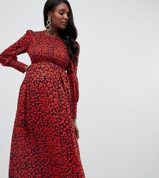 Queen Bee long sleeve shirred bust midi dress in red leopard - Red