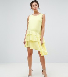 Queen Bee Maternity Asymetric Ruffle Hem Mini Dress - Yellow