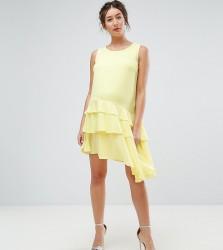 Queen Bee Maternity Asymetric Ruffle Hem Mini Dress - Yellow