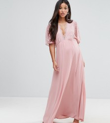 Queen Bee Maternity Lace Kimono Maxi Dress - Pink