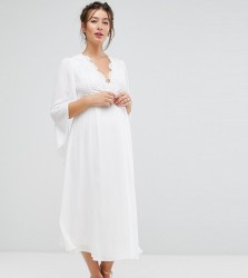 Queen Bee Maternity Lace Midi Dress With Kimono Sleeves - White