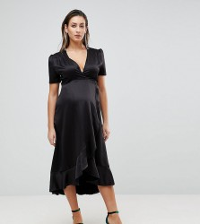 Queen Bee Maternity Wrap Front Asymmetric Ruffle Front Midi Skater Dress - Black