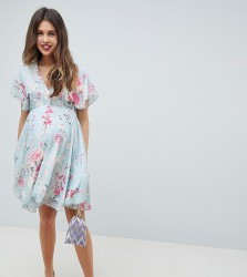 Queen Bee Midi Skater Dress In Pastel Floral Print - Multi