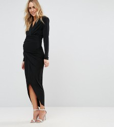 Queen Bee Plunge Front Wrap Maxi Dress - Black