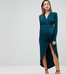 Queen Bee Plunge Front Wrap Maxi Dress - Green
