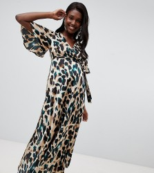 Queen Bee wrap front cap sleeve maxi dress with thigh split in green leopard print - Green