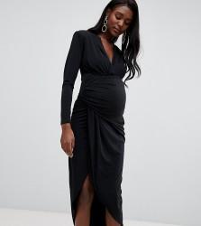 Queen Bee wrap front maxi dress in black - Black