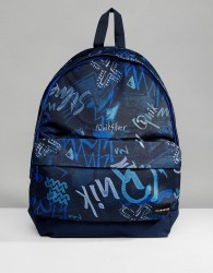 Quiksilver Everyday Poster Backpack in Navy Logo Print - Navy