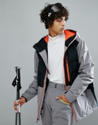 Quiksilver High West Ski Jacket in Black with Contrast Zip - Black