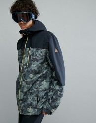 Quiksilver Mission Block Ski Jacket in Anicamo - Black