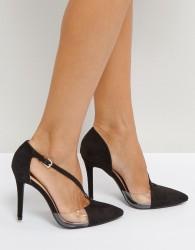 Qupid Asymmetric Perspex Point High Heels - Black