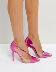 Qupid Asymmetric Vinyl Metallic Point High Heels - Pink