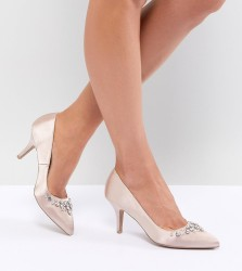 QUPID Bridal Embellished Pointed Heels - Beige