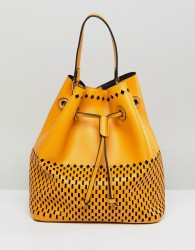 Qupid Bucket Shoulder Bag With Front Pouch - Yellow