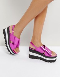 Qupid Chunky Flatform Sandals - Pink