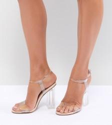 QUPID Clear Heeled Sandals - Beige