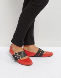 Qupid Double Buckle Ballerina Pumps - Red