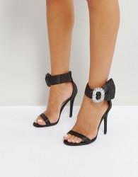 Qupid Embellished Barely There Heel Sandal - Black