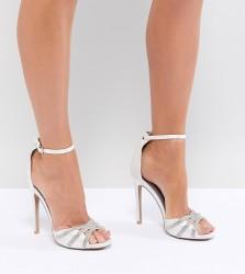 QUPID Embellished Bridal Heeled Sandals - Cream