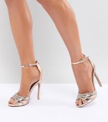 QUPID Embellished Bridal Heeled Sandals - Gold
