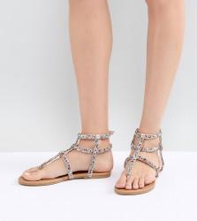 QUPID Embellished Gladiator Sandals - Beige
