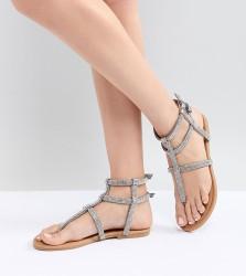 QUPID Embellished Gladiator Sandals - Silver