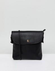 Qupid Fold Over Across Body Bag - Black