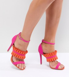 QUPID Fray Detail Heeled Sandals - Pink