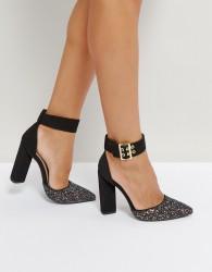 Qupid Glitter Toe Point High Heels - Black