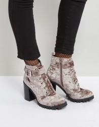 Qupid Heel Velvet Hiker Boot - Grey
