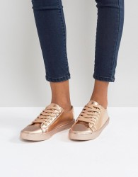 Qupid Lace Up Trainers - Copper