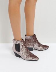Qupid Low Heel Velvet Western Boot - Grey
