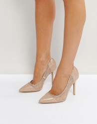 Qupid Mesh Point High Heels - Copper