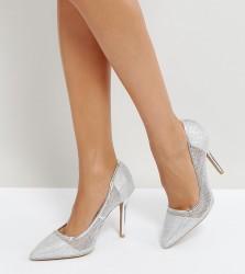 Qupid Mesh Point High Heels - Silver