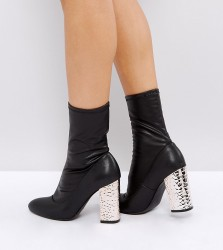 Qupid Metal Heel Sock Boots - Black